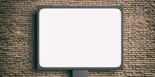 Blank billboard on a brickwall background. 3d illustration. Advertising street billboard, empty blank, on a brick wall background. 3d illustration Royalty Free Stock Image