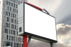 Blank Billboard  template. Blank Billboard in the Building - template white space provided for your ads or message Stock Photo