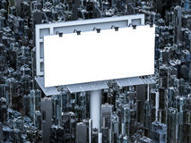 Blank billboard with buildings Royalty Free Stock Photo