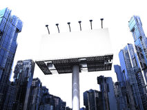 Blank billboard with buildings Royalty Free Stock Images