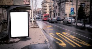 Blank billboard on the bus station. Blank billboard on the streets,selective focus Royalty Free Stock Photography
