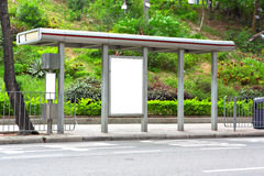Blank billboard on bus stop Stock Photography