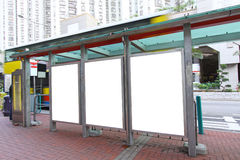 Blank billboard on bus stop Stock Images