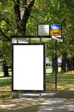 Blank billboard on a bus stop Royalty Free Stock Photography