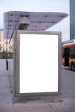 Blank billboard on bus stop royalty free stock photos