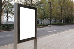 Blank billboard in bus stop. Great copy space for your design, shot in London, United Kingdom, uk stock image