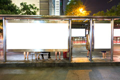 Blank billboard on bus stop Royalty Free Stock Photography