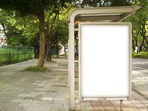 Blank Billboard on Bus Stop Royalty Free Stock Photo