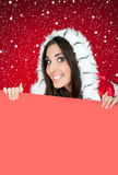 Blank billboard, chrsitmas girl, snow Stock Image