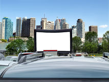 Blank billboard in the city. Blank Billboard with city skyline in background- space for your ad stock photos