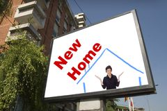Blank billboard in city. For your new home stock images