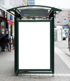 Blank billboard on city bus station stock photography