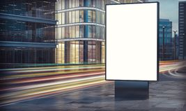 Blank billboard in city night Stock Image