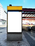 Blank billboard - citylight. Empty billboard in front of the entrance to the underground for your poster or advertising Royalty Free Stock Photography