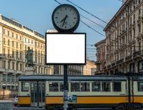 Blank billboard clock time mock up royalty free stock images