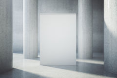 Blank billboard in concrete interior. With columns. Mock up, 3D Rendering Stock Photo
