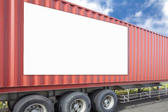 Blank billboard. And Container cargo truck and container shipping box royalty free stock photos