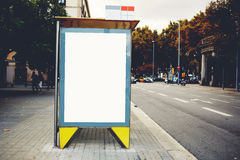 Blank billboard with copy space area for your text message or content, empty public information Lightbox board in urban setting, Royalty Free Stock Photo