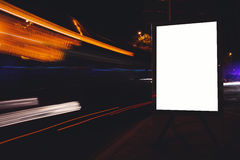 Blank billboard with copy space for your text message or content, advertising mock with movement of cars on the background, public Stock Images