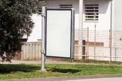 Blank billboard with copy space for your text message or content, outdoors advertising mock up, public information board on city. Stock Images