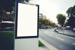 Blank billboard with copy space for your text message or promotional content, empty public information board in the big town, Stock Photo