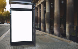 Blank billboard with copy space for your text message or promotional content, public information board in the big town, advertisin. Empty poster in metropolitan Stock Photography