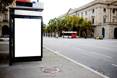 Blank billboard with copy space for your text message or promotional content, public information board in urban setting, Stock Photography