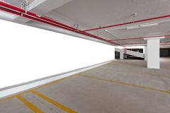 Blank billboard with Empty parking garage underground interior i. N apartment or business building office stock photos