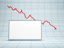 Blank billboard and falling graph Royalty Free Stock Image