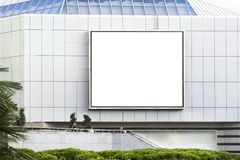 Blank billboard. In front of building stock photography