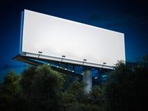 Blank billboard glowing. 3d rendering. Blank billboard glowing at night in trees. 3d rendering Royalty Free Stock Image