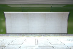 Blank billboard on green subway wall in empty hall Stock Photography