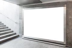 Blank billboard in hall. Blank billboard located in underground hall stock photography