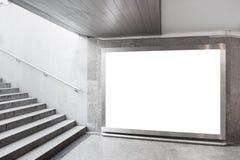 Blank billboard in hall. Blank billboard located in underground hall stock photos