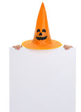 Blank billboard with Halloween hat and hands Royalty Free Stock Photos