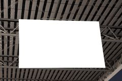 Blank billboard hanged on ceiling Royalty Free Stock Photos