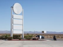 Blank billboard beside the highway with blue sky. Blank billboard beside the highway California, USA. with blue sky Stock Photography