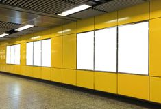 Free Blank Billboard In Metro Subway Station Royalty Free Stock Image - 41527376