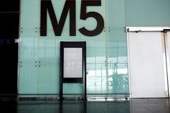 Blank billboard indoors of metro or airport hall, advertising mock up Stock Photos
