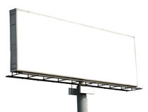 Blank billboard isolated on white Royalty Free Stock Photo