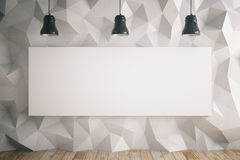 Blank billboard in light room. Blank billboard in room with light polygon patterned wall and ceiling lamps. Mock up, 3D Rendering Stock Photography