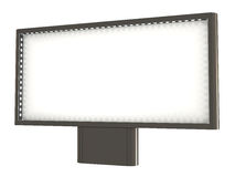 Blank billboard, with lights, clipping path. Included, 3d illustration, isolated on white Stock Photo