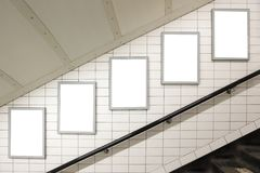 Blank billboard. Located in underground hall, London, United Kingdom, uk stock photography