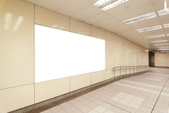 Blank billboard in metro station Royalty Free Stock Images