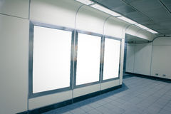 Blank billboard in metro station Royalty Free Stock Photo