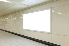 Blank billboard in metro station Stock Image