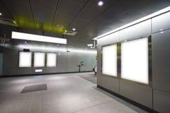Blank billboard in metro station Royalty Free Stock Image