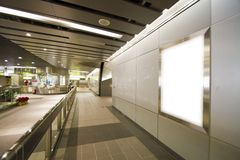 Blank billboard in metro station Royalty Free Stock Photography