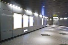 Blank billboard in metro station Stock Image