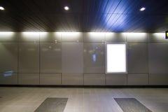 Blank billboard in metro station Stock Photos